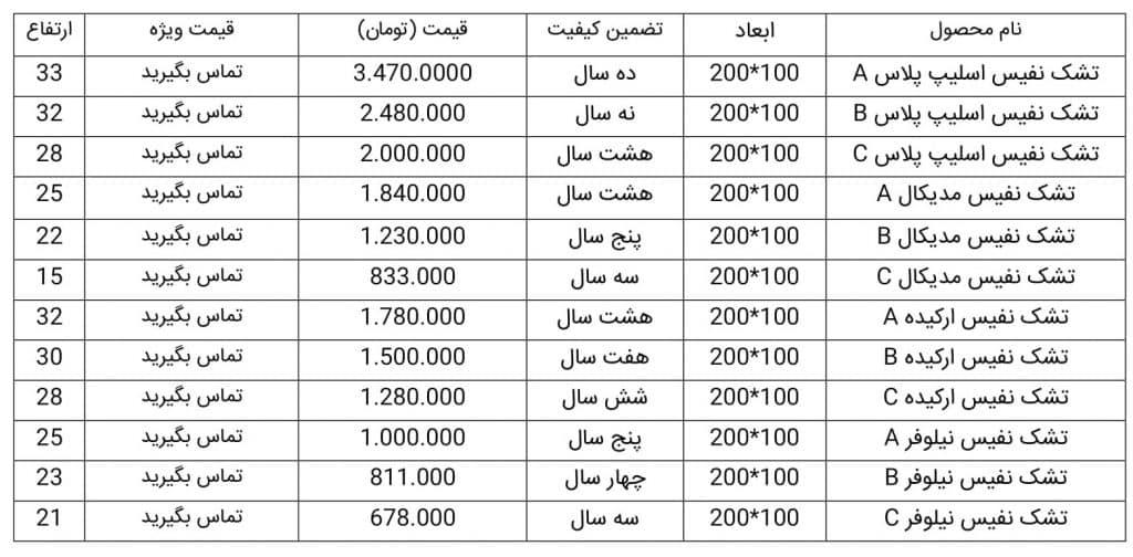 لیست قیمت تشک نفیس یکنفره 100*200